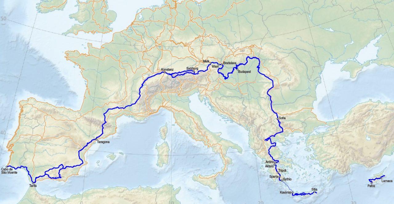 Az E4-es jelzésű európai turistaút